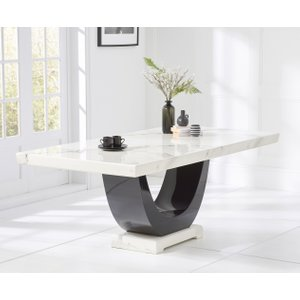 Great Furniture Trading Company Raphael 200cm White And Black Pedestal Marble Dining Table