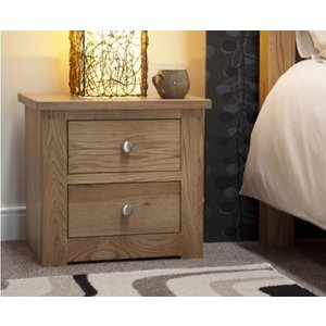Great Furniture Trading Company Reno Oak 2 Drawer Bedside Chest