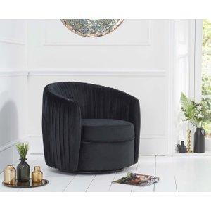 Great Furniture Trading Company Sadie Black Velvet Swivel Chair
