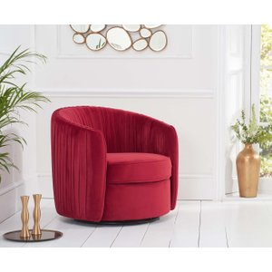 Great Furniture Trading Company Sadie Red Velvet Swivel Chair