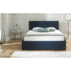 Great Furniture Trading Company Sterling Blue Fabric Ottoman Super King Size Bed