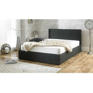 Great Furniture Trading Company Sterling Charcoal Fabric Ottoman King Size Bed