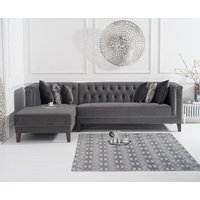 Great Furniture Trading Company Tammie Grey Velvet Left Facing Chaise Sofa