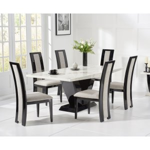 Great Furniture Trading Company Verbier 160cm White And Black V Pedestal Marble Dining Table With Raphael Chairs