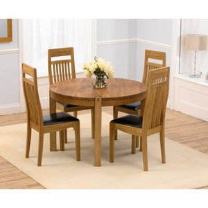 Great Furniture Trading Company Verona 110cm Solid Oak Round Dining Table With Monaco Chairs
