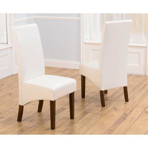 Great Furniture Trading Company Wng Ivory White Dark Faux Leather Dining Chairs (pairs)