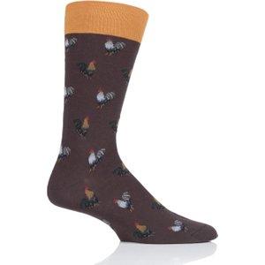 1 Pair Mocha All Over Roosters Cotton Socks Men's 6-9 Mens - Scott Nichol Brown Ys4042 01 M, Brown