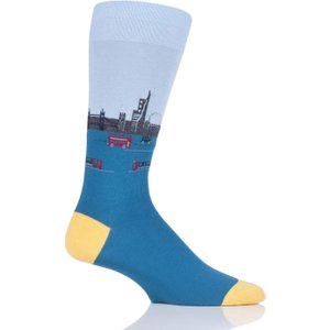 1 Pair Petrol London Waterloo Cotton Socks Men's 6-9 Mens - Scott Nichol Blue Ys4047 02 M, Blue