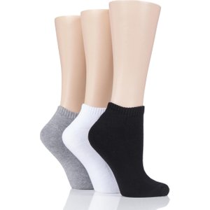 3 Pair Assorted Cushion Bamboo Sports Trainer Socks Ladies 4-8 Ladies - Glenmuir D6050lass, Assorted