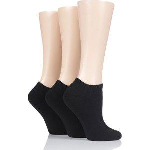 3 Pair Black Cushion Bamboo Sports Trainer Socks Ladies 4-8 Ladies - Glenmuir D6050lblk, Black