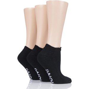3 Pair Black Footnurse Cushioned Foot Diabetic Trainer Socks Ladies 4-8 Ladies - Iomi Iolds07g3blk, Black