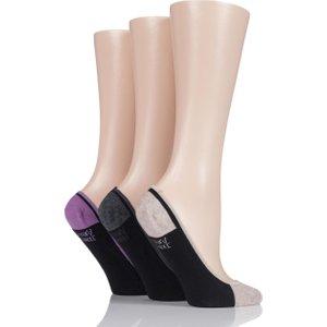 Ladies 3 Pair Jennifer Anderton Contrast Heel And Toe Cotton Invisible Socks Multi Coloured Solav30g3, Multi Coloured