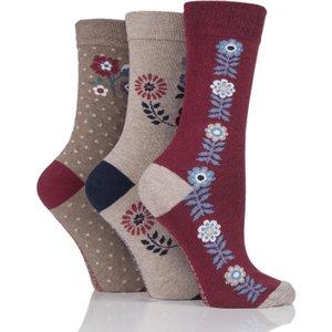 Ladies 3 Pair Jennifer Anderton Patterned Cotton Socks Multi Coloured Solaq50g3, Multi Coloured