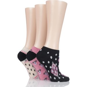 3 Pair Tapestry Black Patterned Cotton Trainer Socks Ladies 4-8 Ladies - Jennifer Anderton Assorted Solat52g3, Assorted