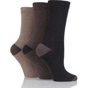 Ladies 3 Pair Jennifer Anderton Plain Cotton Socks Brown Solan67g3, Brown