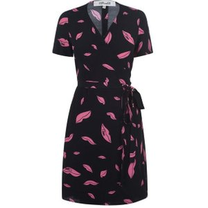 Diane Von Furstenberg Savilla Crepe Mini Wrap Dress Size: 10 (s), Lips Prnt FALLB