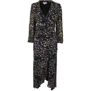 Ganni Printed Georgette Wrap Dress Size: 8 (38), Black Floral