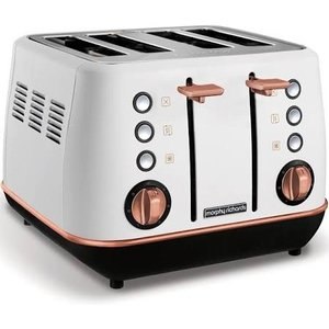 Morphy Richards Evoke 4 Slice Toaster White And Rose Gold 240115 Small Appliances