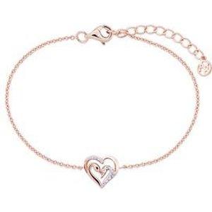Argento Rose Gold Swan Heart Bracelet - Rose Gold 00109994 Womens Jewellery, Rose Gold