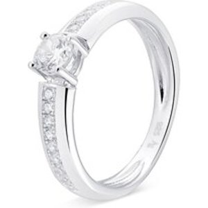 Argento Silver Solitaire Crystal Ring - Ring Size 54 925 Silver 00110276 Womens Jewellery, Silver