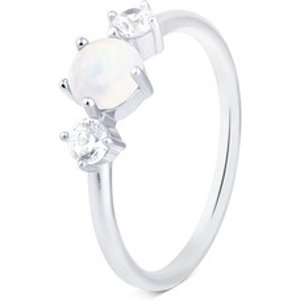 Argento Silver White Opal  Ring - Ring Size 50 00101189 Womens Jewellery, Silver