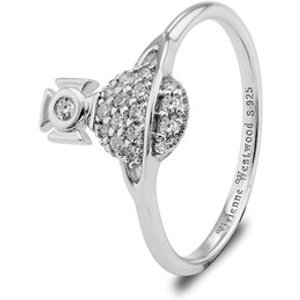 Vivienne Westwood Silver Crystal Tamia Ring - Ring Size 50 64040093 W106 Sm 64040093 W106 Sm Womens Jewellery, Silver