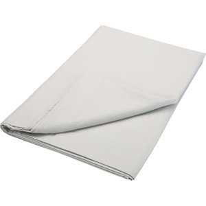 Bedeck Of Belfast 200 Thread Count Plain Dye Single Flat Sheet, Silver Furniture Accessories, Silver