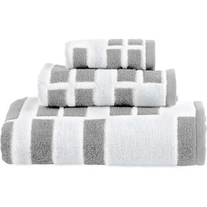 Dkny High Rise Jacquard Bath Towel, White/smoke Furniture Accessories, White