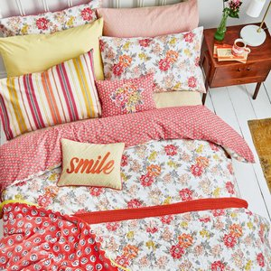 Helena Springfield Bedding Fay Double Duvet Cover, Coral Red Furniture Accessories