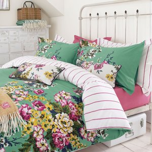 Joules Bedding , Cambridge Floral Duvet Covers, Mineral Green 1duccafm1min C, Green