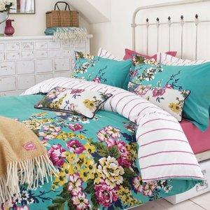 Joules Bedding , Cambridge Floral Single Duvet Cover, Mineral Green Duccafm1min