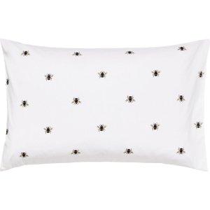 Joules Botanical Bee Housewife Pillowcase, Blue White Ducbtbbhblu, White