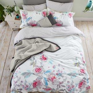 Joules Bright White Beau Bloom Super Kingsize Duvet Cover Furniture Accessories