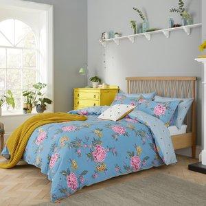 Joules Chinoise Floral Super Kingsize Duvet Cover, Frozen Blue Furniture Accessories