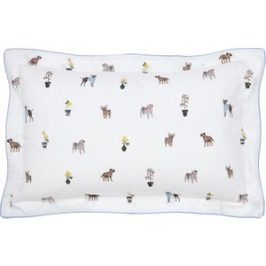 Joules Garden Dogs Oxford Pillowcase, White Furniture Accessories, White