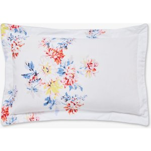 Joules Harbour Floral Stripe Oxford Pillowcase, Grey Furniture Accessories, Grey