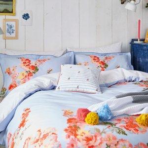 Joules Hollyhock Floral Super Kingsize Duvet Cover, Hydra Blue Duchfhb8hyb