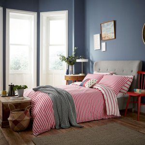 Joules Sail Stripe Single Duvet Cover, Red Furniture Accessories, Red