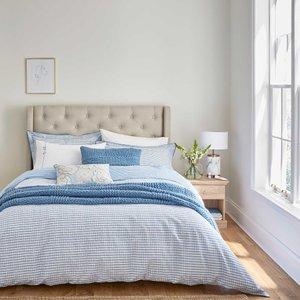 Katie Piper Be Still Check Bedding, Blue Desktpbschkblu, Blue