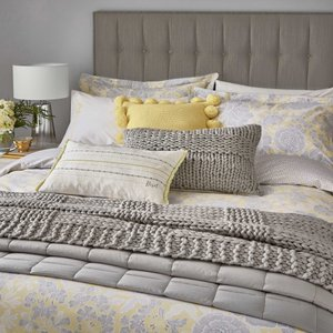 Katie Piper Reset Floral Double Duvet Cover Set, Yellow/silver Qcsrsfy2yel, Yellow/Silver