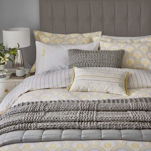 Katie Piper Reset Sprig Single Duvet Cover Set, Yellow/silver Qcsrspy1yel, Yellow/Silver