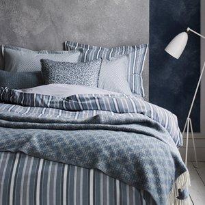 Murmur Bedding, Kyoto Stripe Super Kingsize Duvet Cover, Blue Duckytb8blu
