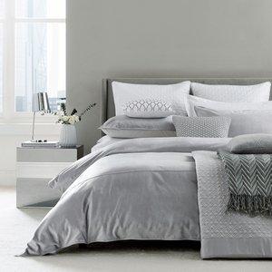 Peacock Blue Hotel Bedding Samsara Super Kingsize Duvet Cover, Platinum Grey Furniture Accessories