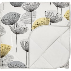 Sanderson Bedding Dandelion Clocks Quilted Throw, Chartreuse Home Textiles, Chartreuse