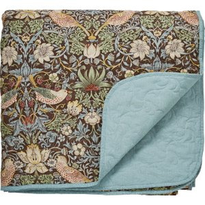 William Morris Bedding Strawberry Thief Quilted Throw, Brown , Brown