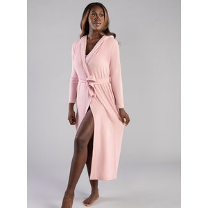 Boux Avenue                   Lillie Ribbed Lounge Robe - Pink               - M, Pink