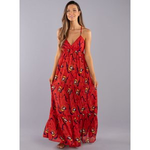 Boux Avenue                   Printed Layered Maxi Dress - Red Mix               - 06, Red Mix