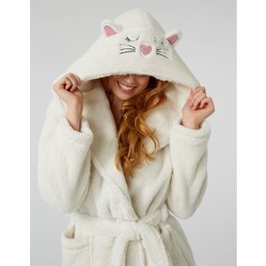 Boux Avenue Cat Hooded Dressing Gown - Ivory - L, Ivory