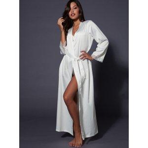 Boux Avenue Frances Long Satin Robe - Ivory - 06, Ivory