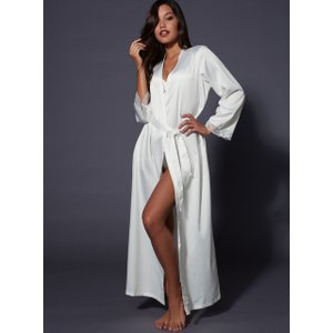 Boux Avenue Frances Long Satin Robe - Ivory - 12/14, Ivory